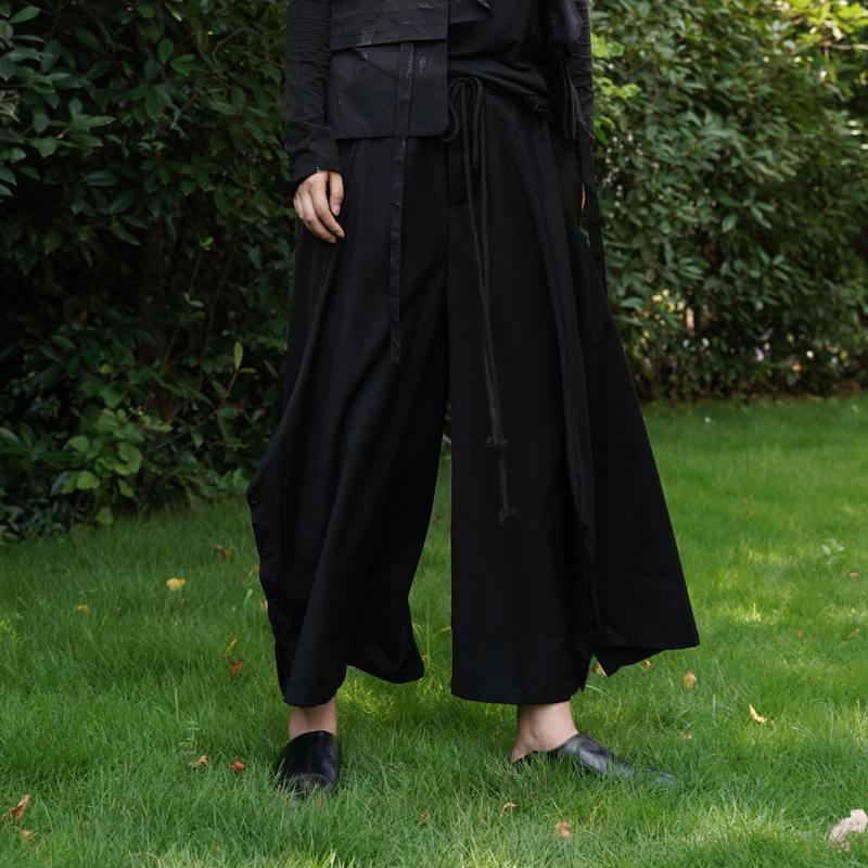 27-44 2021 남성 여성 의류 GD 헤어 스타일리스트 패션 거리 버튼 대형 넓은 다리 바지 플러스 사이즈 의상 남성