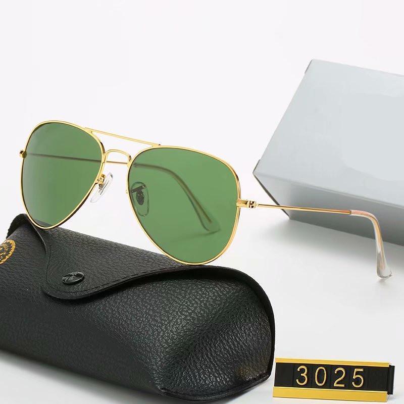 مصمم النظارات الشمسية العلامة التجارية خمر الطيار نظارات الشمس الاستقطاب uv400 الرجال النساء 58 ملليمتر عدسات الزجاج مع مربع