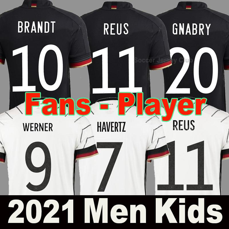 2021 독일 축구 유니폼 Alemania 팬들 선수 버전 멀리 블랙 험멜 Kroos 축구 셔츠 20 21 Draxler Reus Muller Gotze 남성 여성 + 키즈 키트