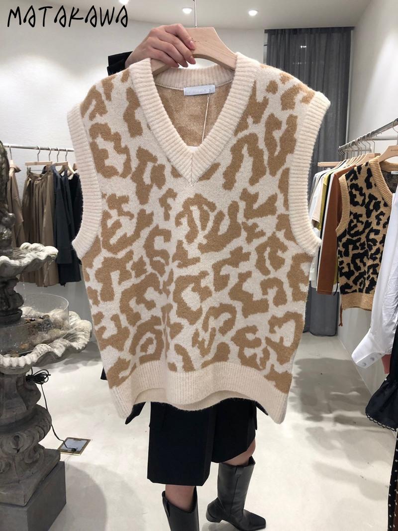 Matakawa Automne et hiver Pull Gilet Leopard Imprimer V-Col V-Coldes Veste tricoté Top Mode Coréenne Veste sans manches Women 210513