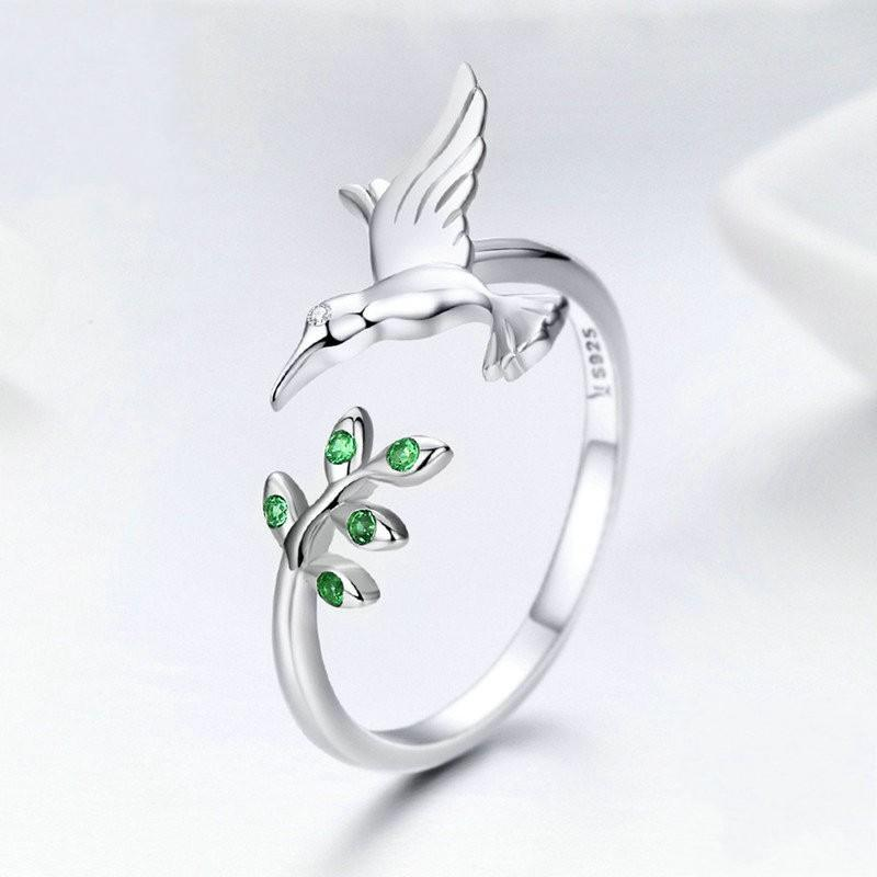 925 Sterling Silber fliegende Vogelbaum Blätter Kolibrisen Verstellbare Fingerring Für Frauen Mode Verlobungsring Schmuck 1489 v2