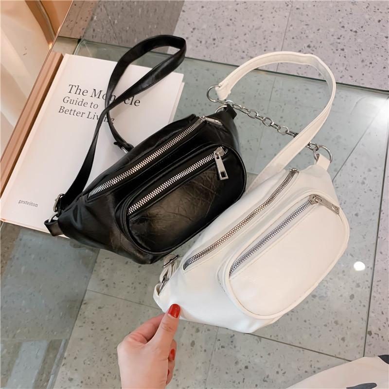 Borsa da donna in vita Moda Cintura in pelle di modo Catena catena Fanny Pack per Black Solid Double Zipper Banana Bumbag Phone Borse Borse