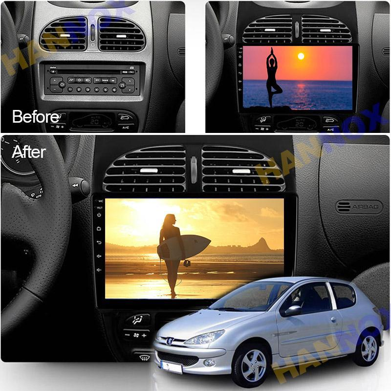6G+128G 9inch Android10.0 Car DVD Radio Multimedia Player GPS For 206 2000 -2021 Accessories Navigation Carplay WIFI