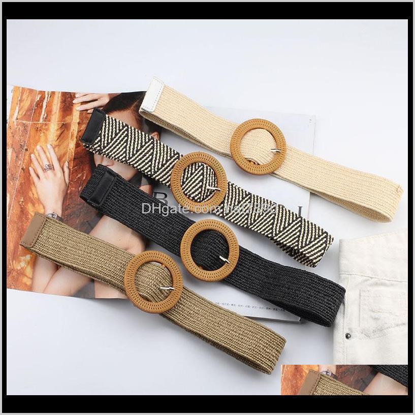 ولديسة موضة الديكوراتالبيلت ديكور ديكور تنورة حزام المنسوجة يدويا للنساء مرونة جولة مربع مشبك الكورية نمط محبوك الخصر