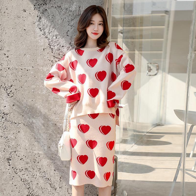 Осень зимние женщины корейский вязаный пуловер свитер и юбки 2 частей набор офис леди элегантные свободные повседневные наряды два платья