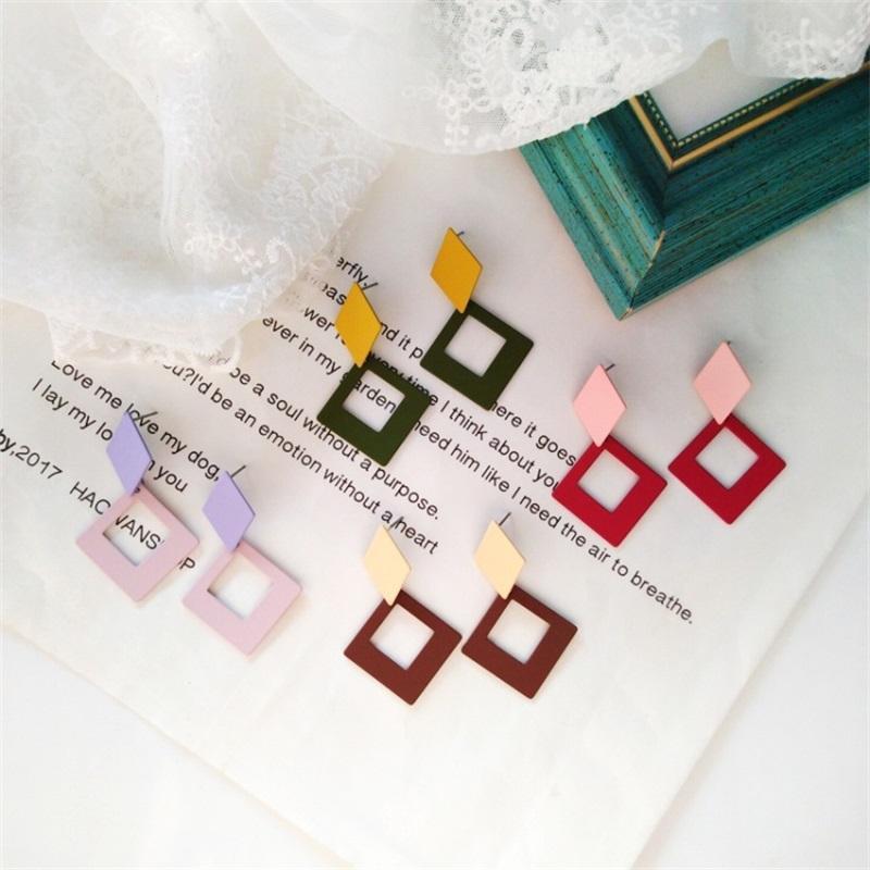 Korean Fashion Retro Geometric Square Dangle Earrings Simple Colorful Metal Hollow Ear Clip Women Jewelry Accessories Gifts & Chandelier