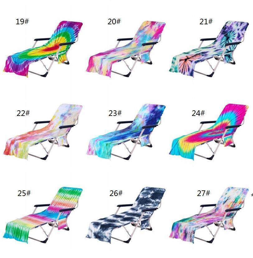 Krawatte Dye Beach Stuhlabdeckung mit Seitentasche Bunte Chaise Lounge Handtuchabdeckungen für Sun Lounger Pool Sonnenbaden Garten HHE6139