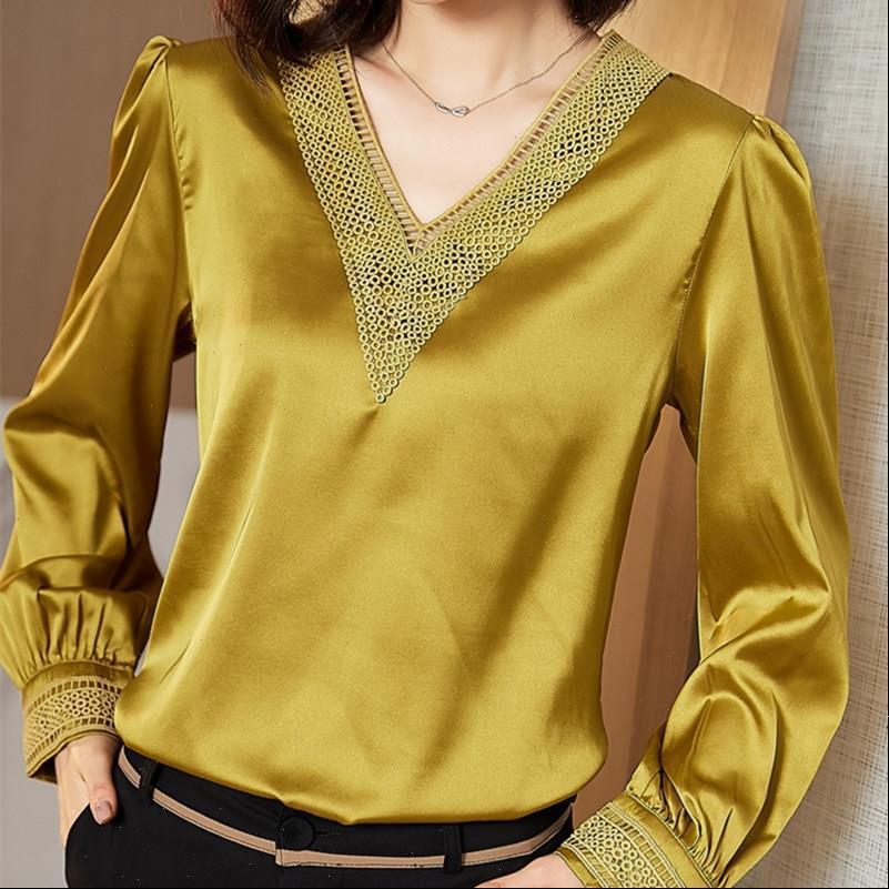 Korean Silk V neck Women Blouses Long Sleeve Embroidered Satin White Tops Plus Size