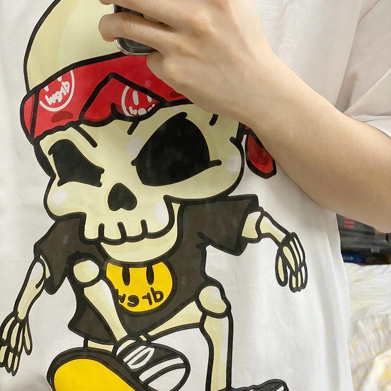 높은 Qualitydrew Justin Bieber House Skull 해적 스마일 얼굴 인쇄 반팔 여성 티셔츠 남성용 티셔츠