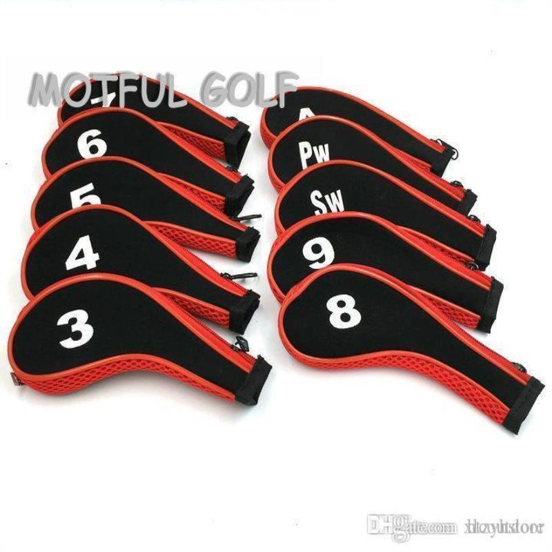 Mit 10 teile / paket zyh eisen kopfhaube golf set eisen deckungsnummer zip reißverschluss rot farbe kopf gedruckt uklque
