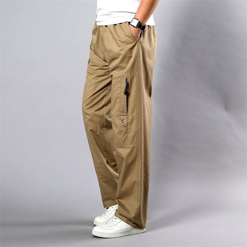 Pantalon d'été des hommes plus Taille Taille droite Fit Grandes tailles 5XL Poches latérales Coton large Coton Kaki Noir Cargo Pantalons Traveux Pantalons Hommes 210707