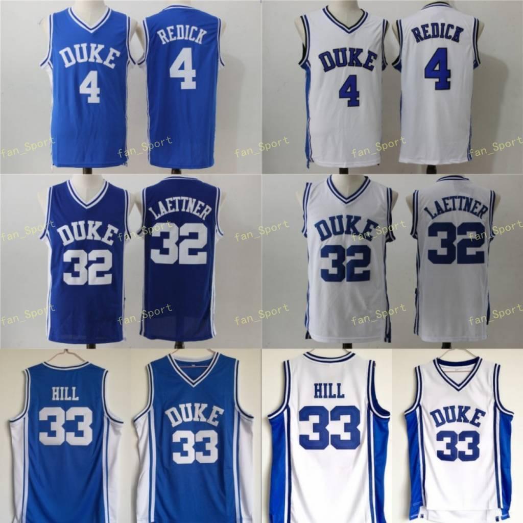NCAA Men Duke Blue Devils Jersey 33 Grant Hill 4 JJ Refick 32 Christian Laettner Blue White 모든 스티치 대학 농구 유니폼 저렴한