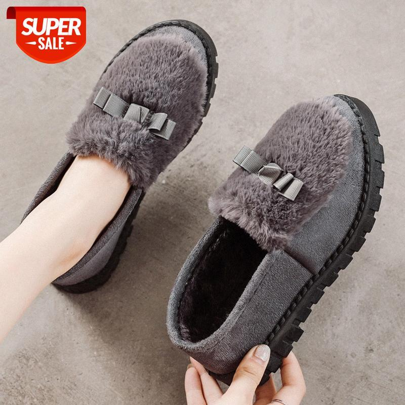 Yeni artı kadife bezelye ayakkabı kadın pamuk rahat giyim yumuşak taban anne # yo75