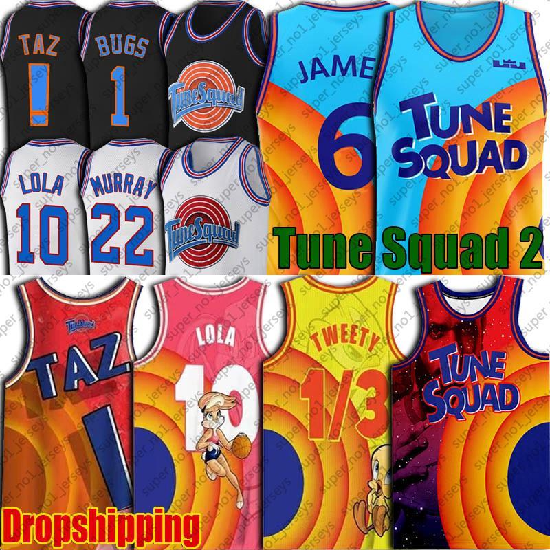 6 Джеймс Space Jers 2 Tune Squad Jersey Bugs Lola Bunny Jerseys Tweety Bird Taz Jersey Romback Daffy Duck Bill Murray Jersey Basketball