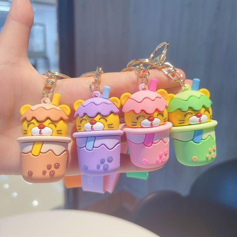 Kawaii tazza di caffè portachiavi per borse cartoon design anime portachiavi bolla bolla tè portachiavi