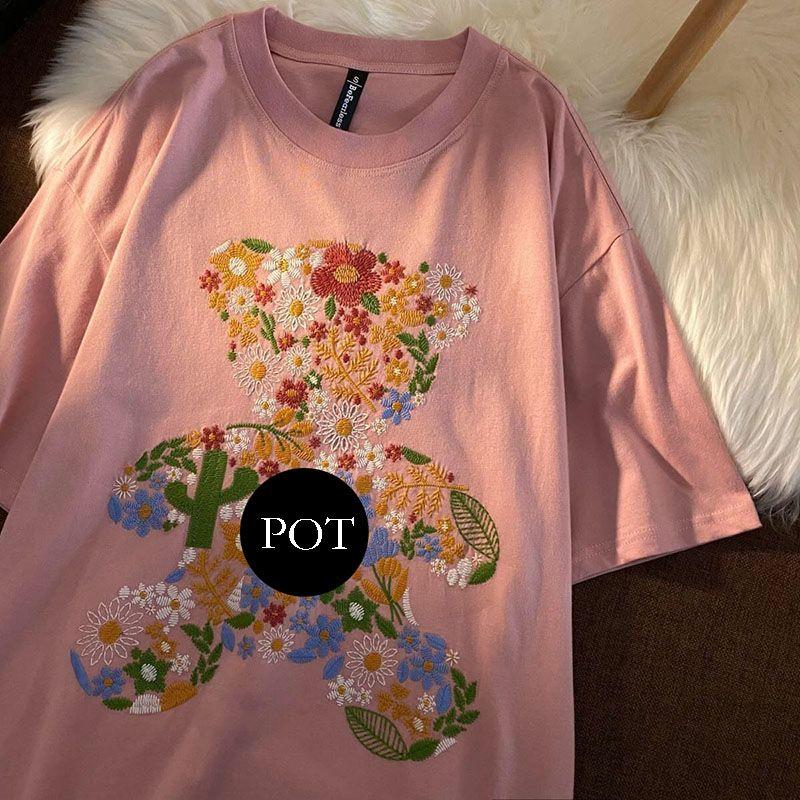 2021 Designers verão camiseta homens mulheres casuais t-shirt com letras Imprimir Homem mangas curtas Roupas Garden Bear 20ss