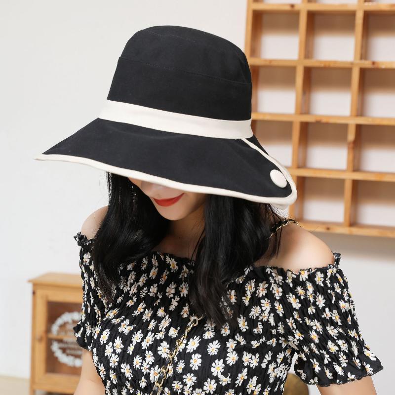 Sombreros de ala ancho europeo y americano hembra sombrero primavera verano pescador de doble cara al aire libre moda sol