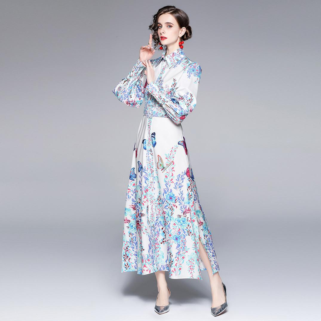 Court Style 2021 Early Autumn Lapel Single Breasted Long Printed Dress with Belt A-line Skirt