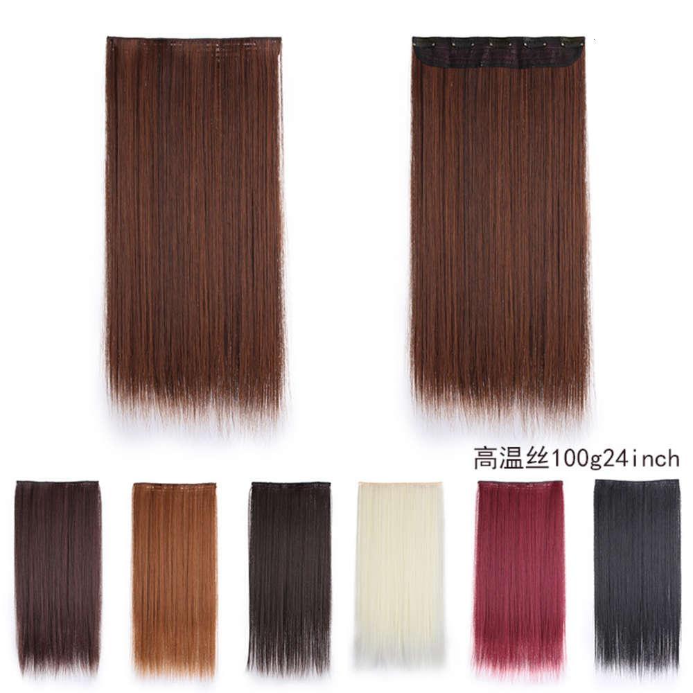 Frauen-Stück einteilig verdickt 5-Clip-Vorhang Chemische Faser Hochtemperatur-Seidenhaar-Haar-Haarverlängerung