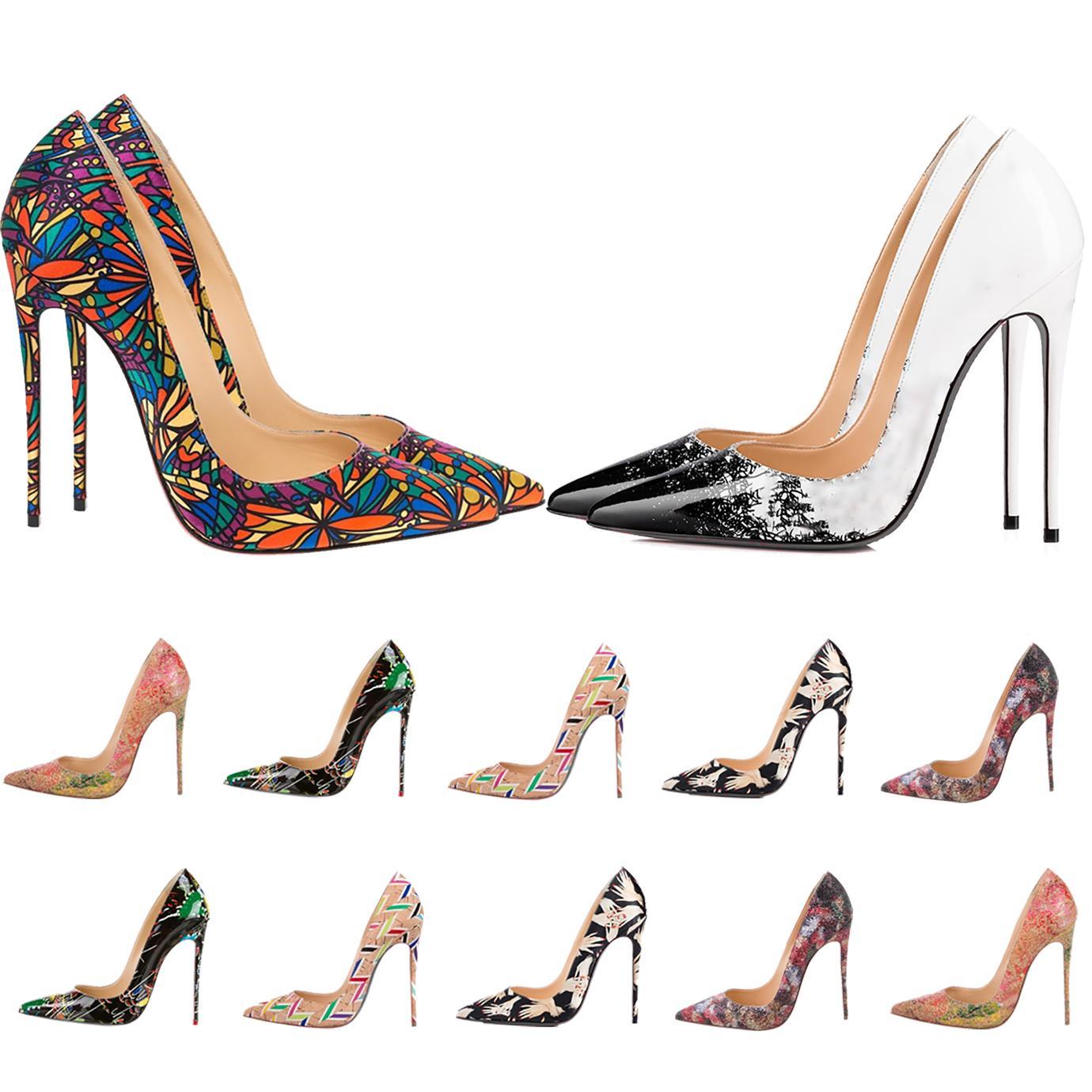 Mulheres Vermelhas Bottom High High Wotsed Toes Luxurys Designers Sapatos Genuíno Bombas de Couro Senhora Sandálias de Casamento Flor Impressão