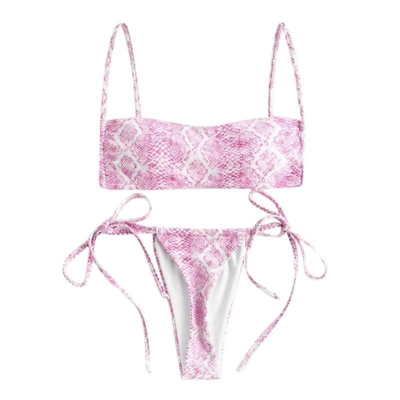 Mulheres Swimwear 2 Pcs Swimsuits Sexy Leopardo Cor Bandagem Alto Cintura Sem Mangas Sling Colete Thong Beachwear Swimsuit Bikini Set