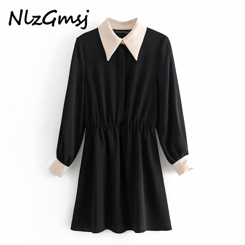 NLZGMSJ Güz Siyah Gömlek Kadın Elbise Kontrast Yaka Patchwork Mini Kadın Moda Uzun Kollu Bayan Bayanlar ES 210628