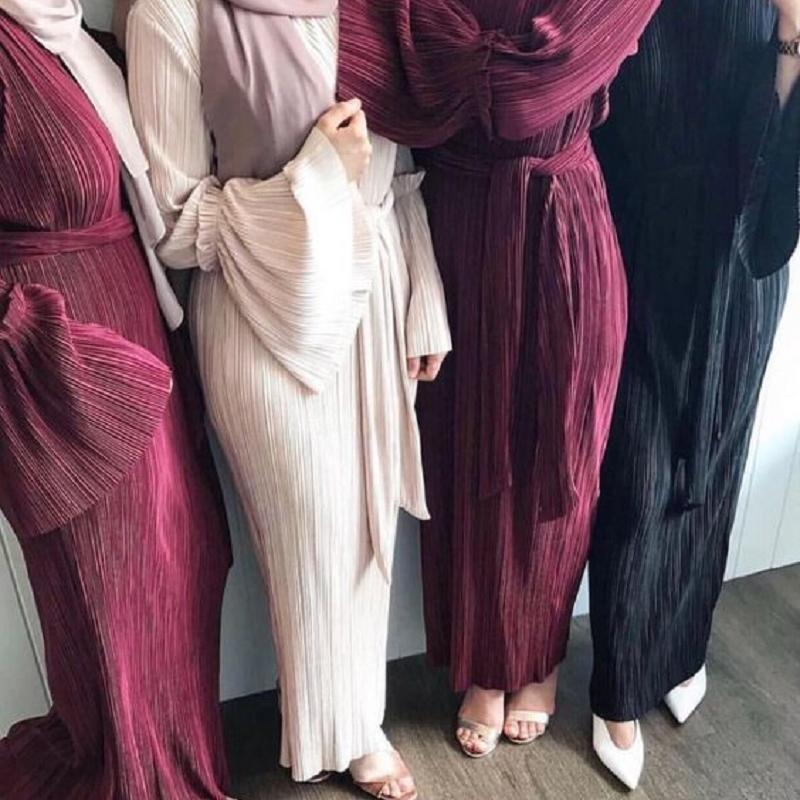 WEPBEL PLUS TAMAÑO TALLER VESTIDO PLISADO Mujer Abaya Verano Manga larga Muslim Árabe Oriente Medio Turco Robe Vestidos casuales