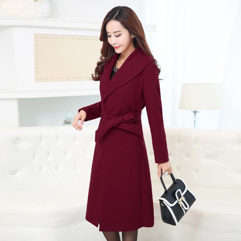 Women's Wool & Blends Fashion Solid Long Winter Coats Elegant Blend Coat And Jacket With Sashes Femenino Big Size