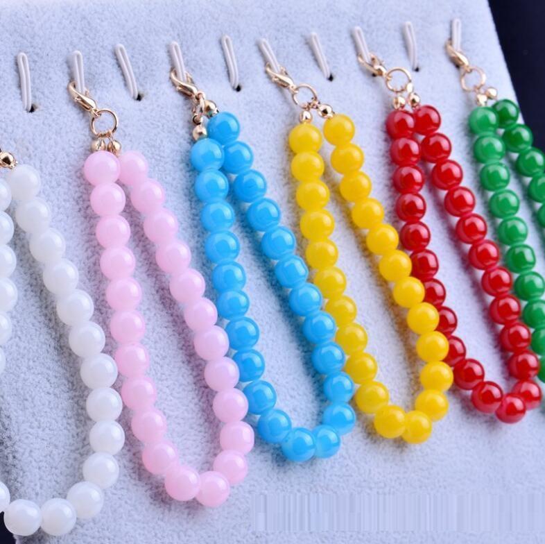 8mm mehrfarbige Glasimitation Perle Hängende Keychain Kurzschmuck Zubehör Hochzeit Candy Box Haar Ball Schlüsselanhänger Handy Anhänger