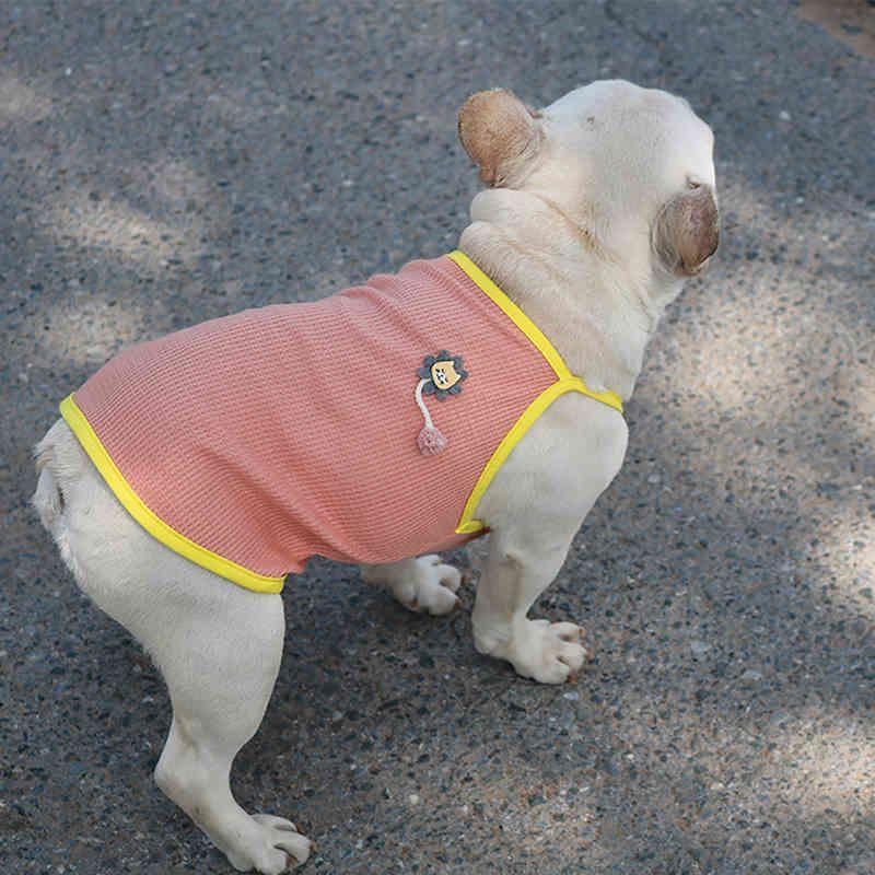 Linda ropa de verano ropa de verano fresco cachorro chaleco malla vestido de vestido con correas de hombro bulldog francés pug