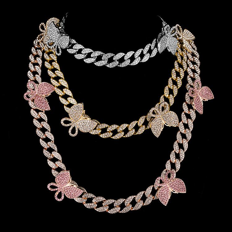 Iced Out Cuban Link Chain Butterfly Choker Necklace Mens Womens Gold Silver Hip Hop Necklaces Jewelry 18inch