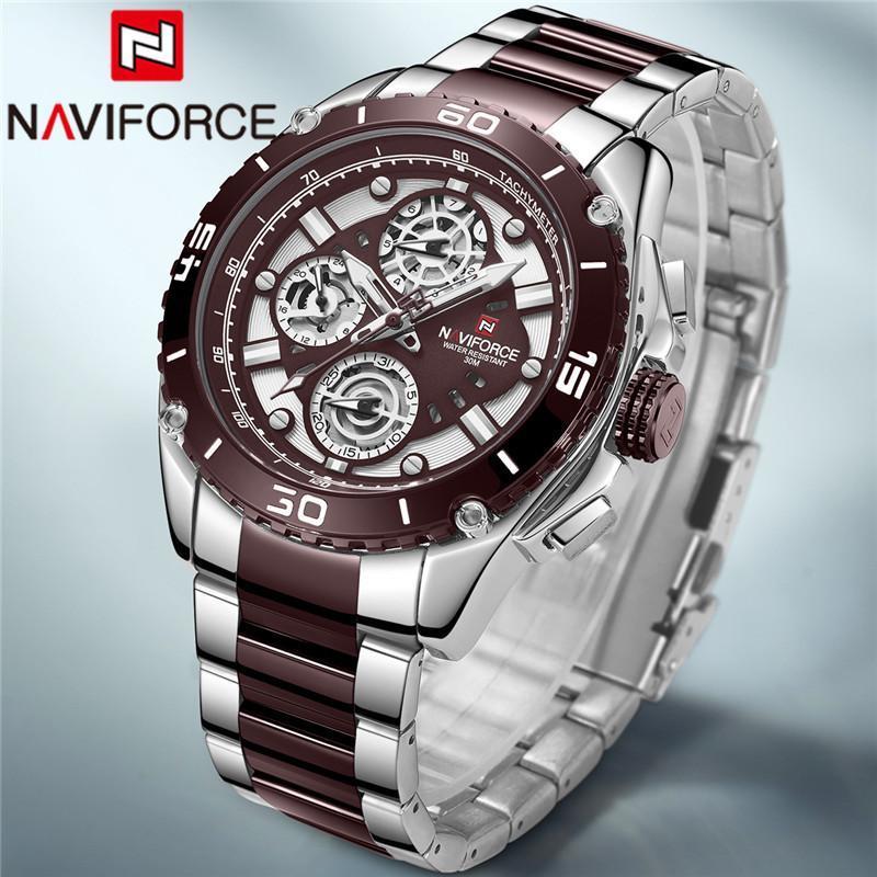 손목 시계 naviforce 남자 손목 시계 패션 스포츠 남자 시계 탑 실버 커피 군사 스테인레스 스틸 쿼츠 남성 시계 9179