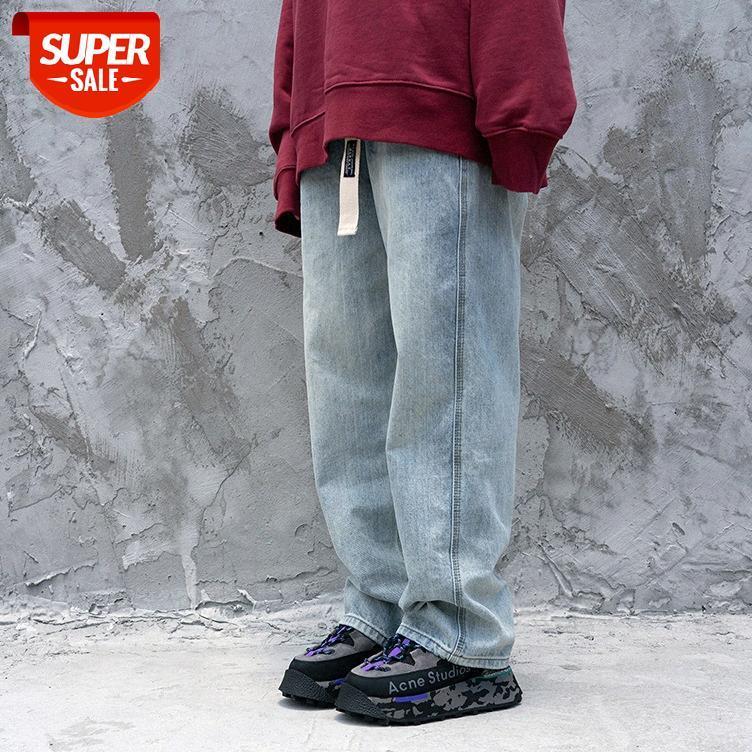 Avrupa ve Amerikan yüksek sokak retro beyaz gevşek kot hip hop büyük boy sıkıntılı kot pantolon # 9k2v