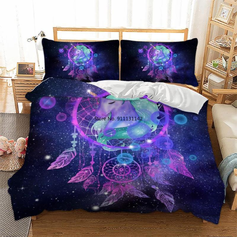 Bedding Sets Beautiful Butterfly Dream Catcher Digital Print Set Fashion Down Quilt Cover And Pillowcase Double Queen Size 2/3 Pcs