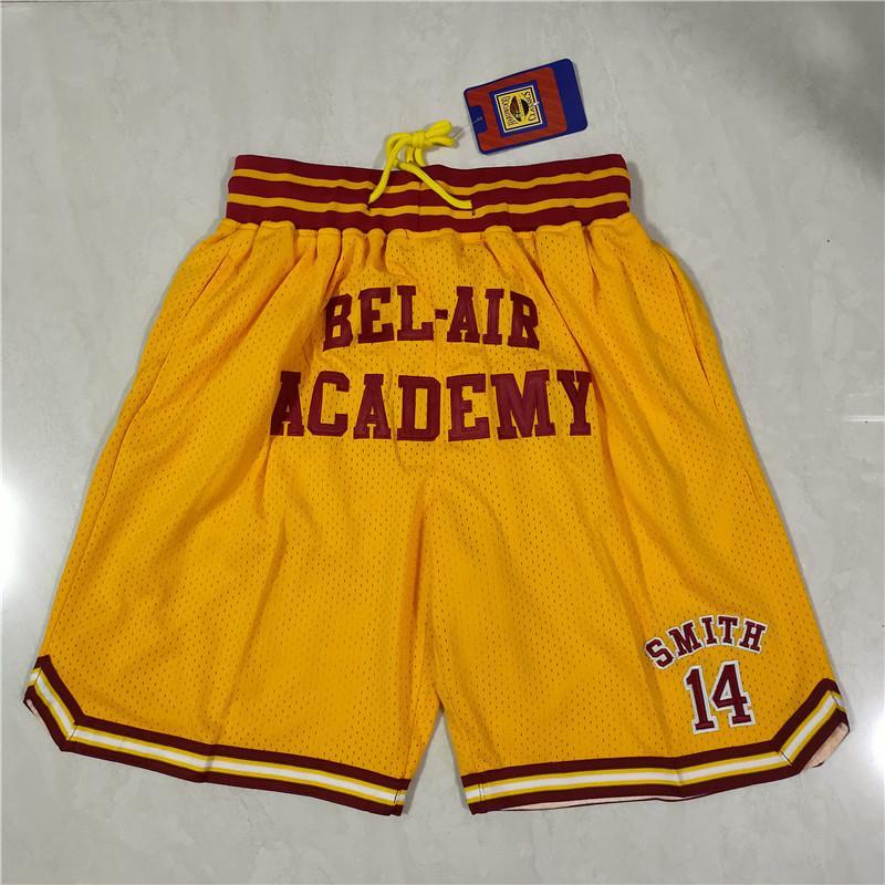 Мужская команда Баскетбол Короче всего 14 Желтых Цвет Смит Фан Спортивные Шорты Шорты Хип-Поп Эластичные Брюки Талии С Карманами Сфальпанты Молния Размер S- Размер 2XL