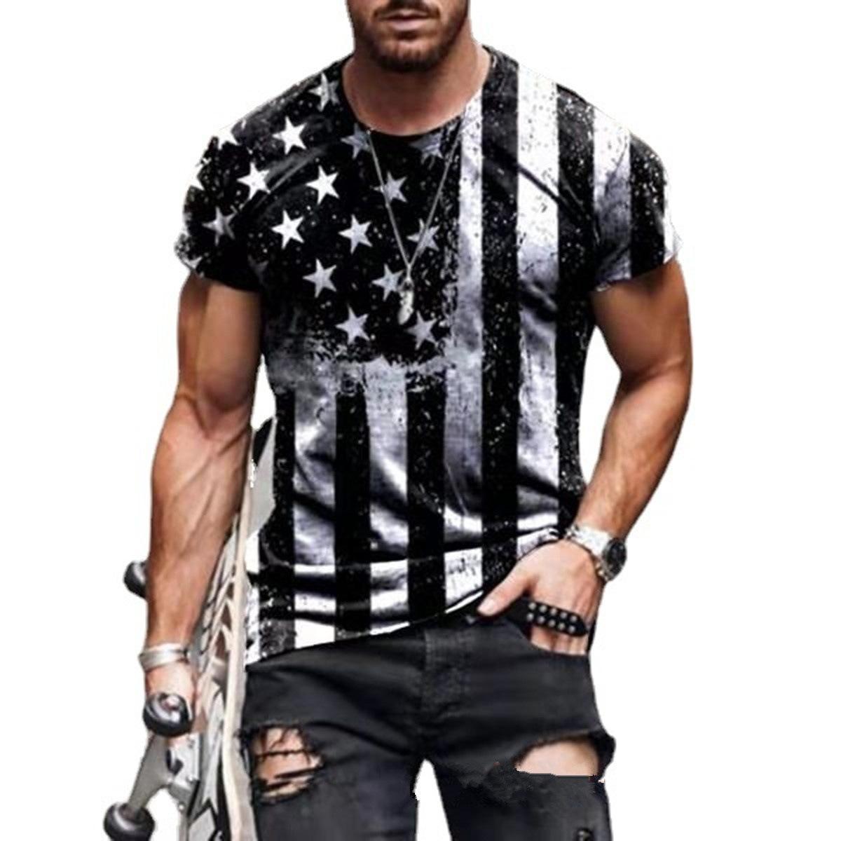 Personalisierte gedruckte Designer Männer Kleidung T-shirt Mode Kurzarm Stern Flag Rundhals Pullover