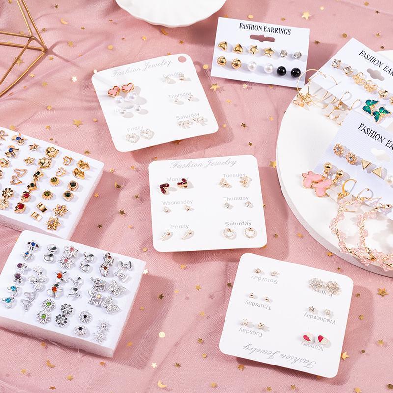 Pendientes de la tendencia de la moda de la moda 2021 coreanos para las mujeres flor redonda geométrica mariposa estudio joyería fiesta linda