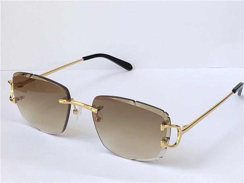Retrô óculos de sol homens design sem aro de cristal corte superfície irregular óculos UV400 ouro luz lentes verão Óculos 0112 com case top qu