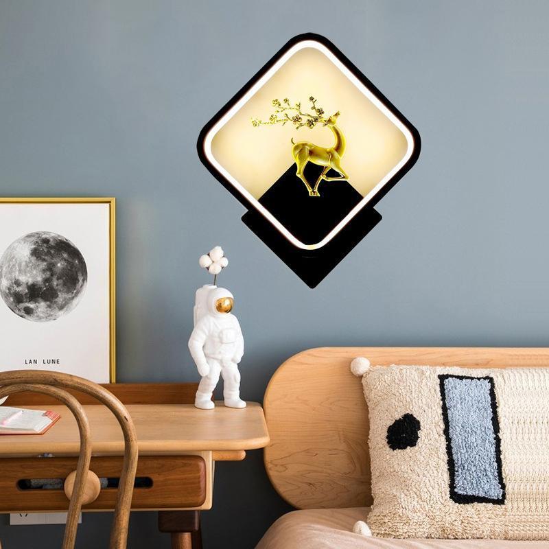 현대 벽 램프 북유럽 크리 에이 티브 거실 아트 천사 벽화 실내 침실 침대 머리맡