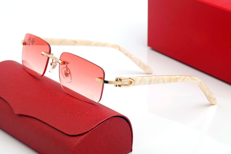 Klasik Beyaz Buffalo Boynuz Gözlük Markalar Tasarım UV400 Gözlük Metal Altın Ahşap Çerçeve Gözlük Kadın Erkek Güneş Gözlüğü Polaroid Siyah Kahverengi Lens