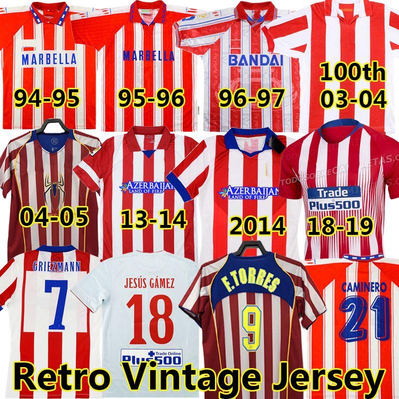 Retro 2004 2005 Atletico Madrid Jerseys # 9 F.Torres 1994 95 96 97 2013 14 15 Caminero Griezmann Gabi Home Vintage Camisa de Futebol Clássico