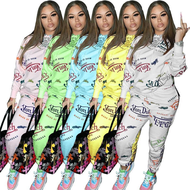 Abiti da donna Manica lunga 2 pezzi Set Tracksuit Jogging Sportsuit Shirt Camicia Leggings Abiti Felpa Giù Donna Inverno Jogger Sweat