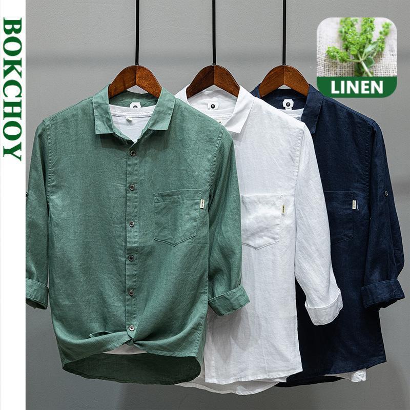 봄 남자 레트로 린넨 셔츠 긴 소매 버튼 캐주얼 L849 남자 셔츠