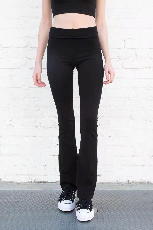 Bm alta cintura estiramiento cuerno yoga pantalón 2021 ins negro pierna larga pierna de ocio pantalones