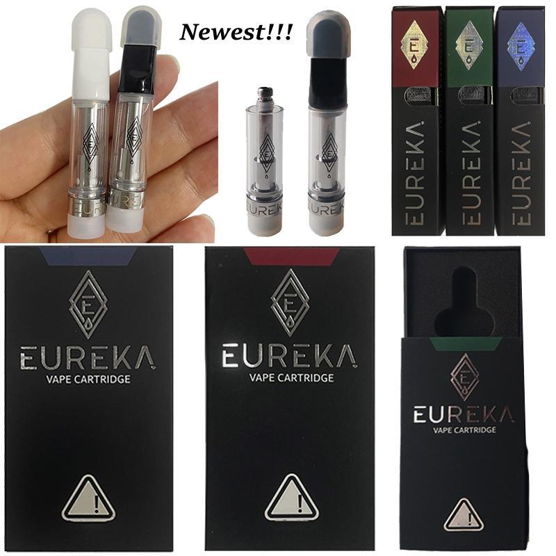 Eureka 10 끈 vape 카트리지 th205 세라믹 팁 전자 담배 atomizers 0.8 1.0ml 오일 카트 왁스 vapes 펜 유리 두꺼운 DAB 510 스레드 담배 상자 포장 빈