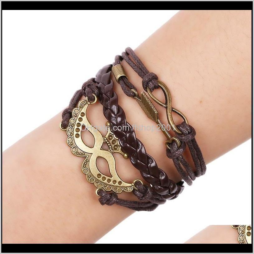 Древняя корона маска шарм браслет бесконечности стрелка многослойные браслеты женские мода ювелирные изделия будут и песчаный подарок DK98U MLOHL
