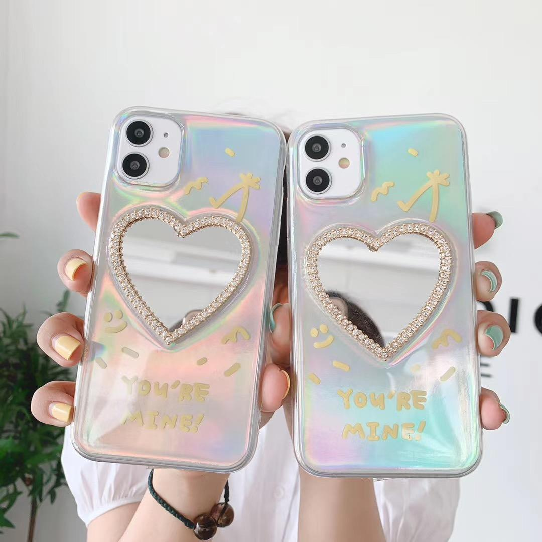 Luxury Laser Diamond Love Mirror Phone Cases for IPhone 12 11 Pro XR XS Max 7 8 Plus Transparent Glitter Letter Soft Cover on 12mini