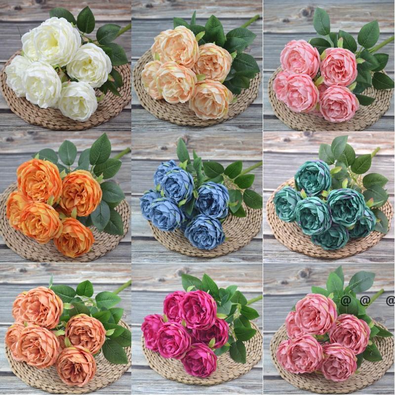 Soie artificielle Soie Pivoine Fleurs Bouquets 7 Heads Core Spun Peonys Mariage Accueil Décoration Blanc Champagne Bleu Rose EWA4651