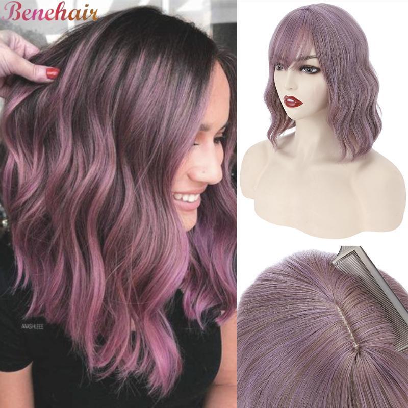 """Parrucche sintetiche Benehair 12/14 '' """"Wavy Bob Party Black Purple Pink Blonde Bionda con Bangs Straight Breve Breve Della Spalla Lunghezza giornaliera"""