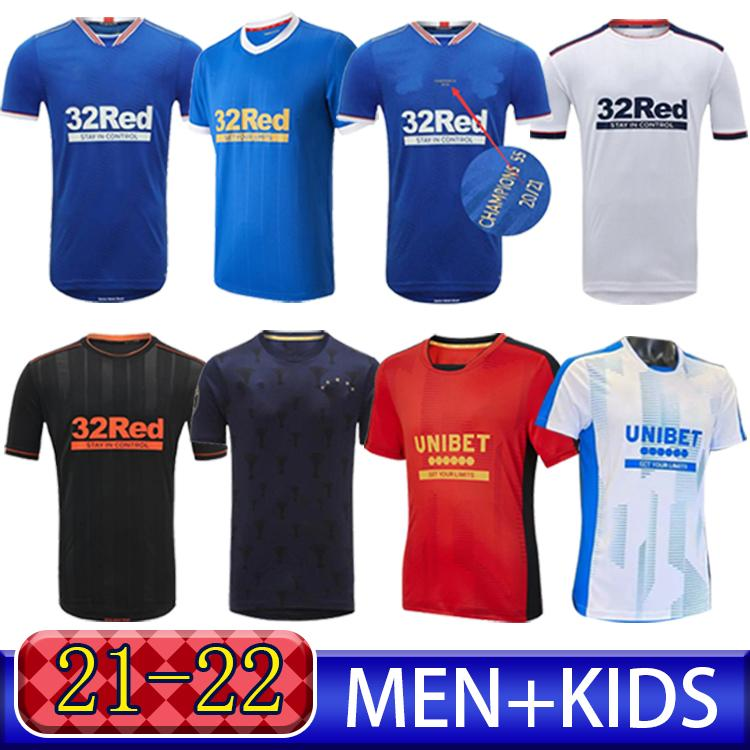 2021 Rangers 150th Anniversary Soccer Jerseys Glasgow 2022 تدريب Tee Champions 55 Defoe Player Version Barker Morelos Special 21 22 قمصان كرة القدم الرجال + Kids Kit